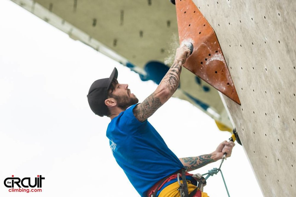 25 year old Kaleb at Kletterzentrum Imst. Photo courtesy of The Circuit Climbing Magazine.