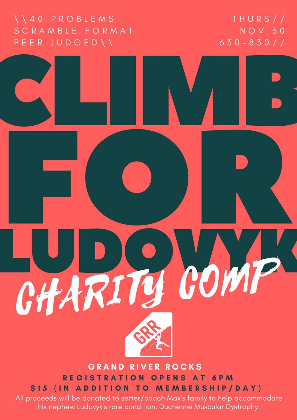 Climb with me at Grand River Rocks (Kitchener, Ontario) on November 30th to help raise funds for Ludovyk!