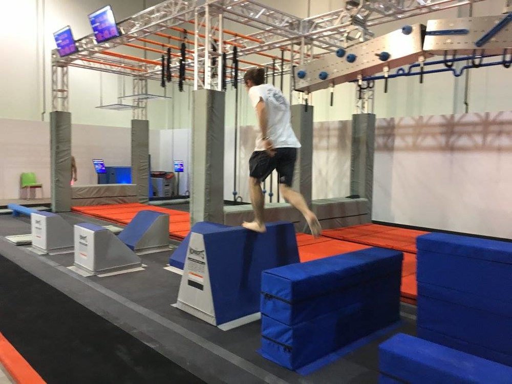 Staff at Altitude Kanata test out the ninja course in a stand-alone setting.