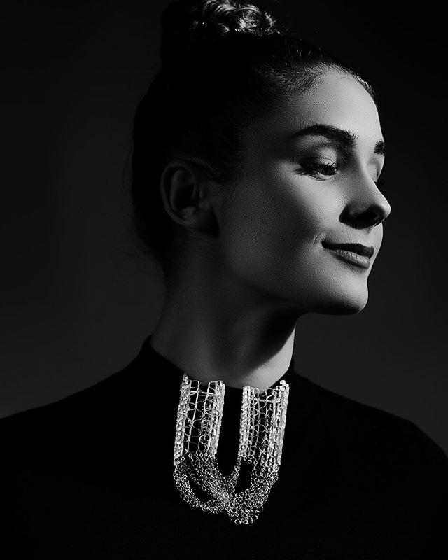 Identity 2017. Inspired by costume in 16-17th century. Photography :#shannontofts. Model: Daniela Groza. #ecadegreeshow #handmadechain #craftsmanship #filigreejewellery