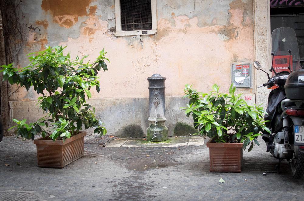 """""""石窟雅座""""对面的风景。罗马有很多这样的Nasone(意大利文直译过来就是""""大鼻子"""")。""""大鼻子""""里流出来的水来自高山融化的雪水,天然凉、无添加,是当地人免费的饮用水来源。要是在罗马看到这样的""""大鼻子"""",一定要像电影《Eat Pray Love》里面朱丽叶罗伯茨那样用当地人的方式品尝一下这几千年来在罗马城内从未间断过的水。"""