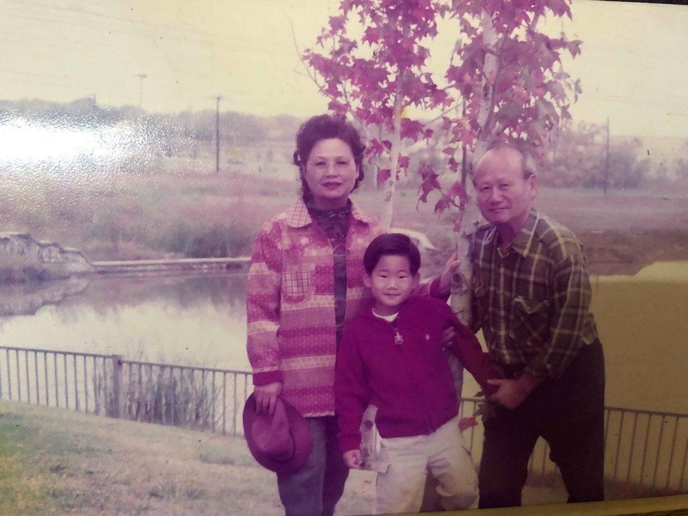 Paul with his grandparents in Dallas, Texas.