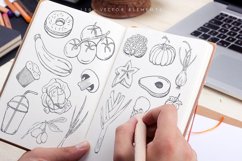 Ratatouille Sketched Vector Set