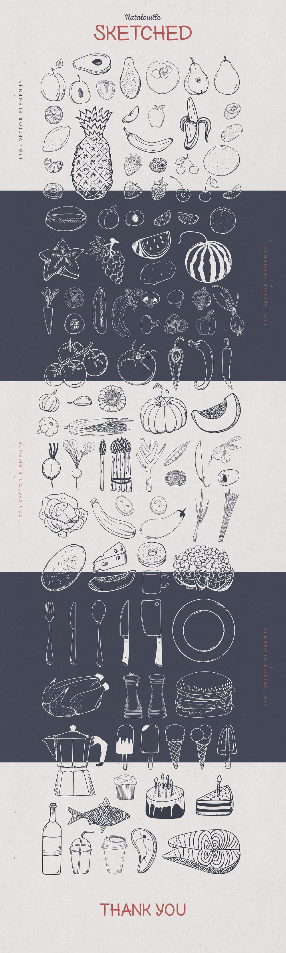 Ratatouille Sketched Vector Set