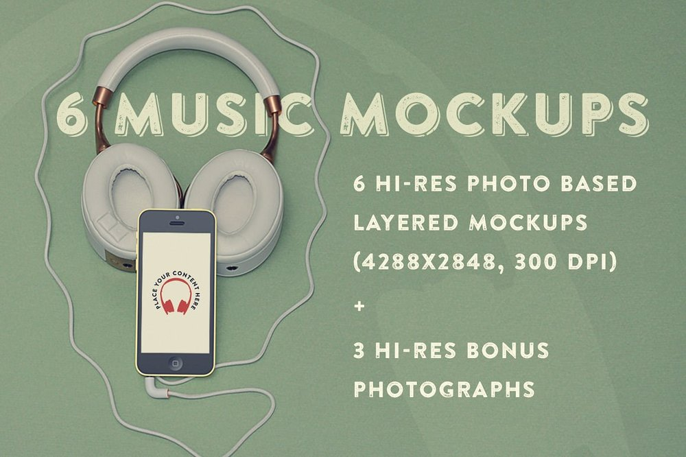 6 Music Hero Mockups + 3 Bonus Photos