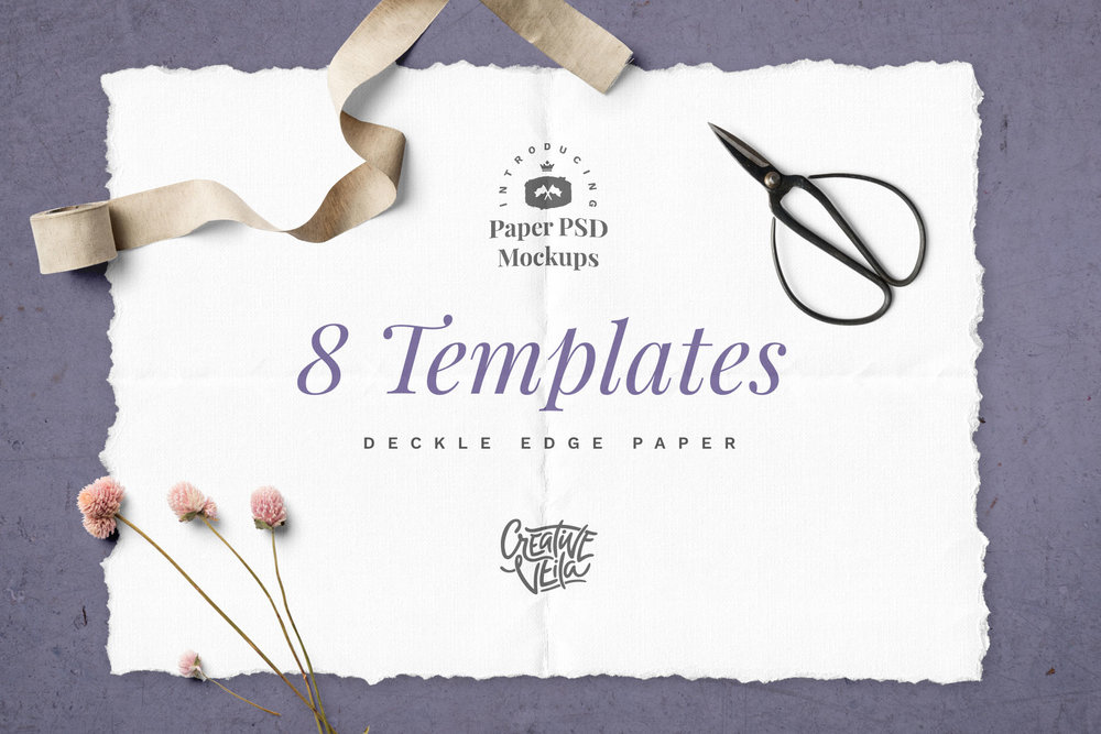 Deckle Edge Paper Mockup Set - A set of paper mockup templates radiating home-brew and hand-crafted design vibes! This free set is perfect for showcasing lettering, typography, and gentle illustrations.