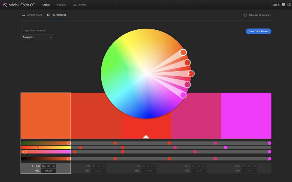 Color wheel welcomes you on Adobe Color homepage