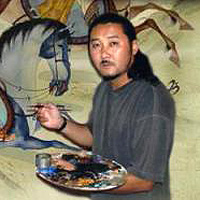 Damba Tsolmon    Damba Tsolmon was born in Darkhan, Mongolia in 1970. He paints his own version of traditional Mongolian painting and calligraphy with techniques that also encompass modern expression.   www.tsolmonart.com