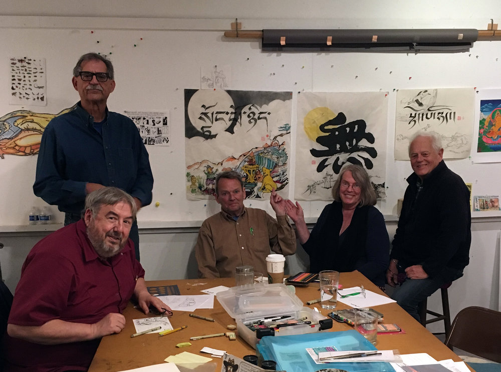 Some  Art Squad  members.  Shown here, Paul Rodgers, John Gaccione, David Moore, Gail Morrison, Robin Lafever.    At home with the Art Squad