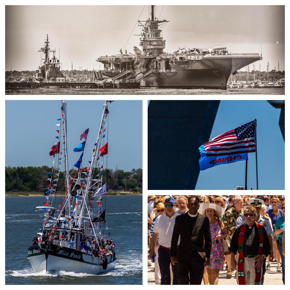 A collage of images from The Blessing of the Fleet event in Mt. Pleasant.
