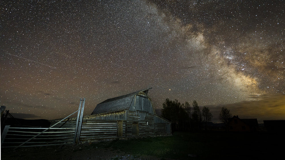 Milky Way over Moulton Barn with a few shooting stars.