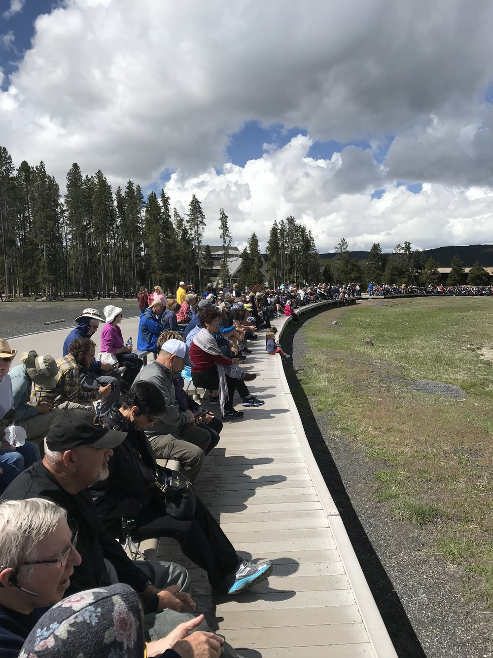 The crowds of people waiting for Old Faithful to make an appearance