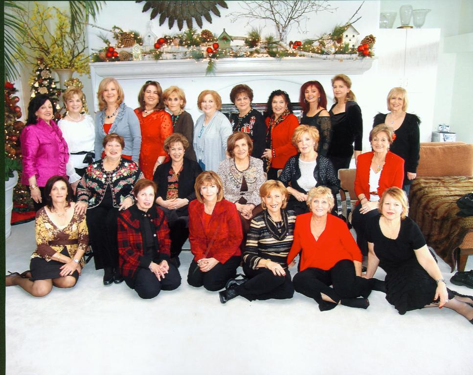 Front row seated on floor, left to right: Rosemary Sarafa, Mary Romaya, Fadiya Sarafa, Venus Sadek, Najat George, and Caroline Matti; Middle row sitting on chairs, left to right: Josephine Sarafa, Jean Farida, Mary Thomas, Margo Kory, Malika Agnastopoulos; Back row standing, left to right: Julie Hallahan, Lilly George, Fredericka Bahoora, Nawal Shallal, Selwa Sesi, Juliet Najor, Judy Abbo, Samira Essa, Paula Denja, Firyal Yono, and Ameera Zachary.