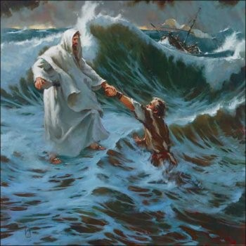 Jesus rescuing Peter