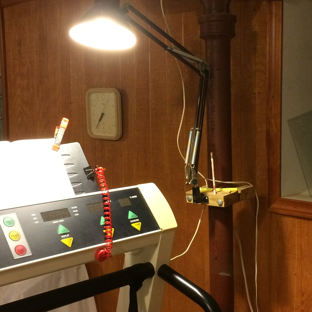 Treadmill reading light mount