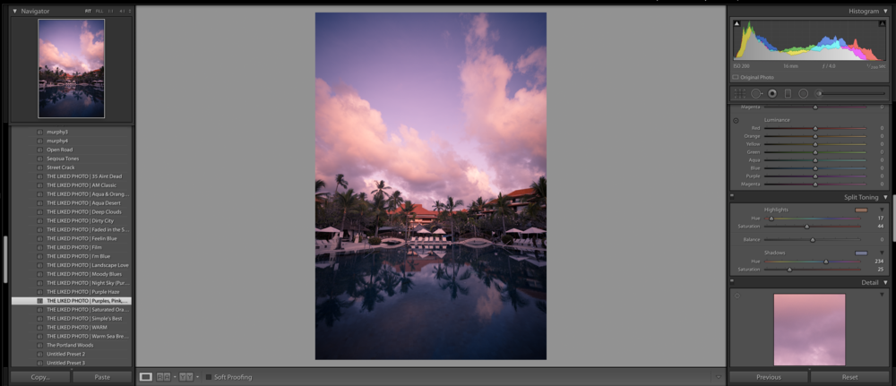 """Lightroom's interface - Presets on the left. Editing controls on the right. You can see here that I applied this preset to the image. To me, it looks too dark but I like the tones so my next step is to adjust the exposure on the right side until I get my desired look. (Preset used here is """"Purples, Pinks and Dark Shadows available in our preset shop)"""