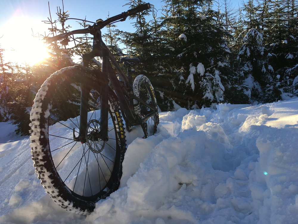 A day full of excuses, I pushed my bike almost all the way up and most of the way back down. Conditions, fitness, time ,risk you name it I had them all that day! It was pretty snowy and at least I got a rad shot of the bike.