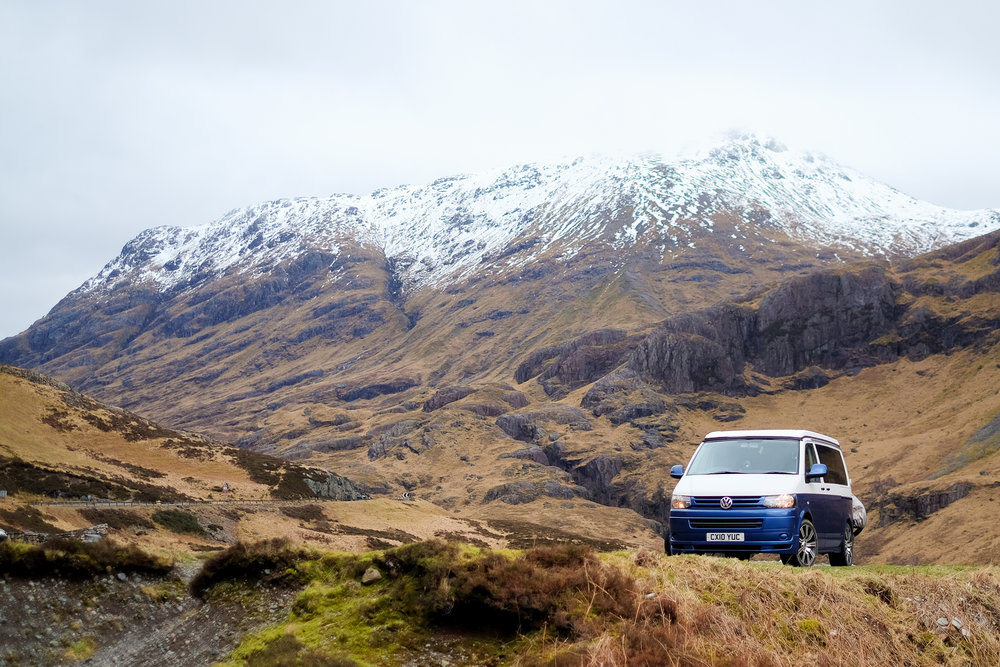 The drive up to Fort Bill through Glencoe is one of Scotland's natural wonders so it would have been rude not to stop and take a photo of the van in such a nice spot.
