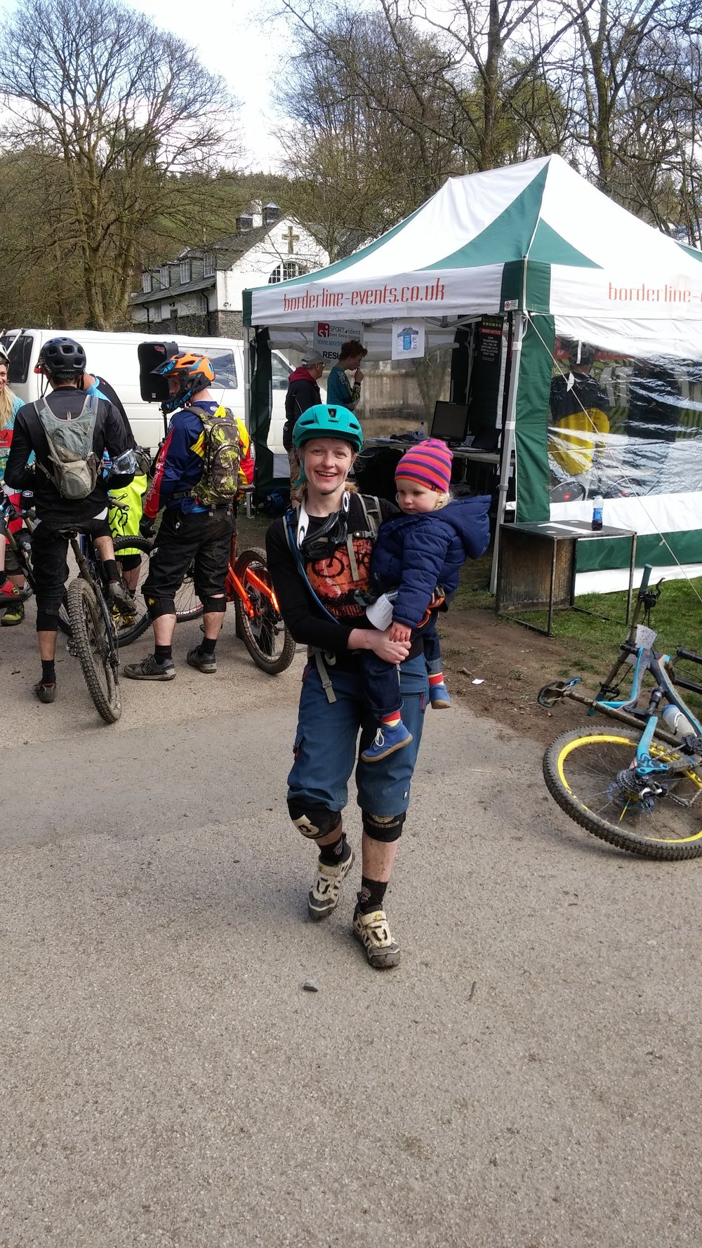 Kat Compton at the PMBA round at Grizedale 2015 - I was greeted by my little girl at the finish. It's hard work trying to race with young children, so doesn't happen often but I love it when I can race!!
