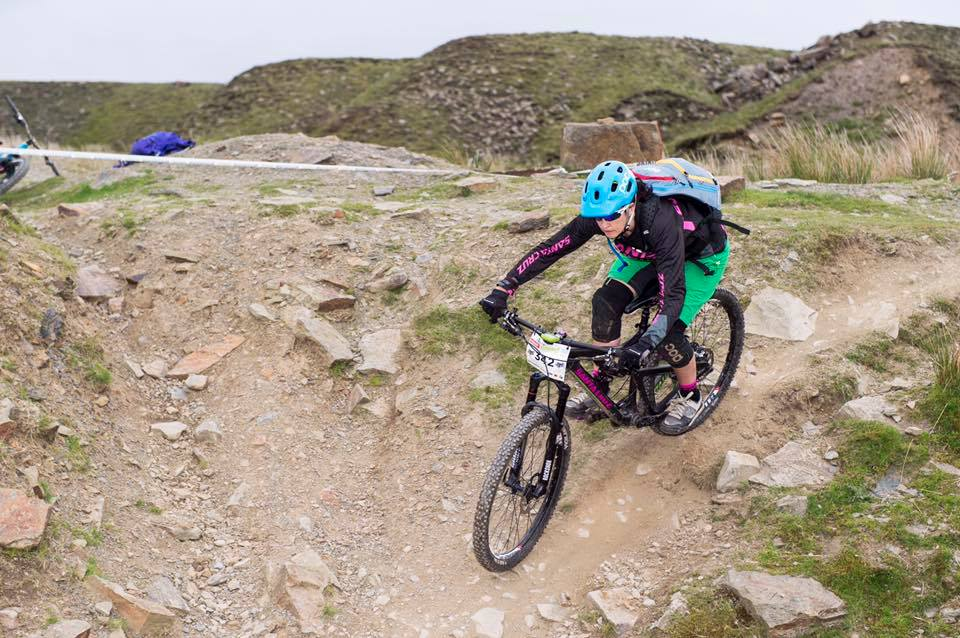 Julie Mulvanny at Lee Quarry PMBA Enduro with praise for the format and number of female entry. Also much friendlier than races she's attended in Scotland.