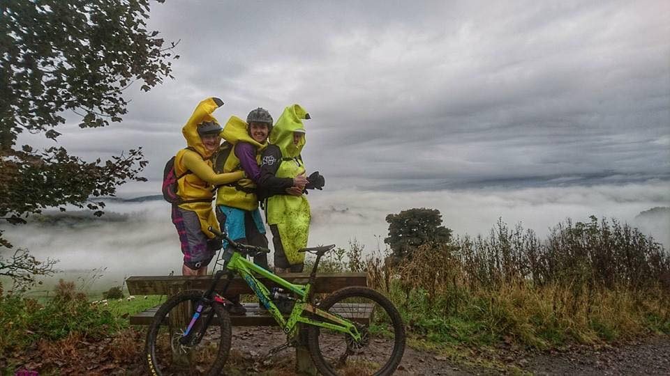 Julie, Liz and Caroline getting fully into the spirit of Enduro at the Muckmedden Fair City Enduro. It's just about riding round with your mates and having a laugh!