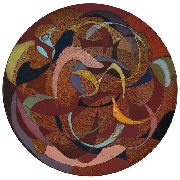 """Untitled  (9"""" Dia) (Oil on Wood)"""