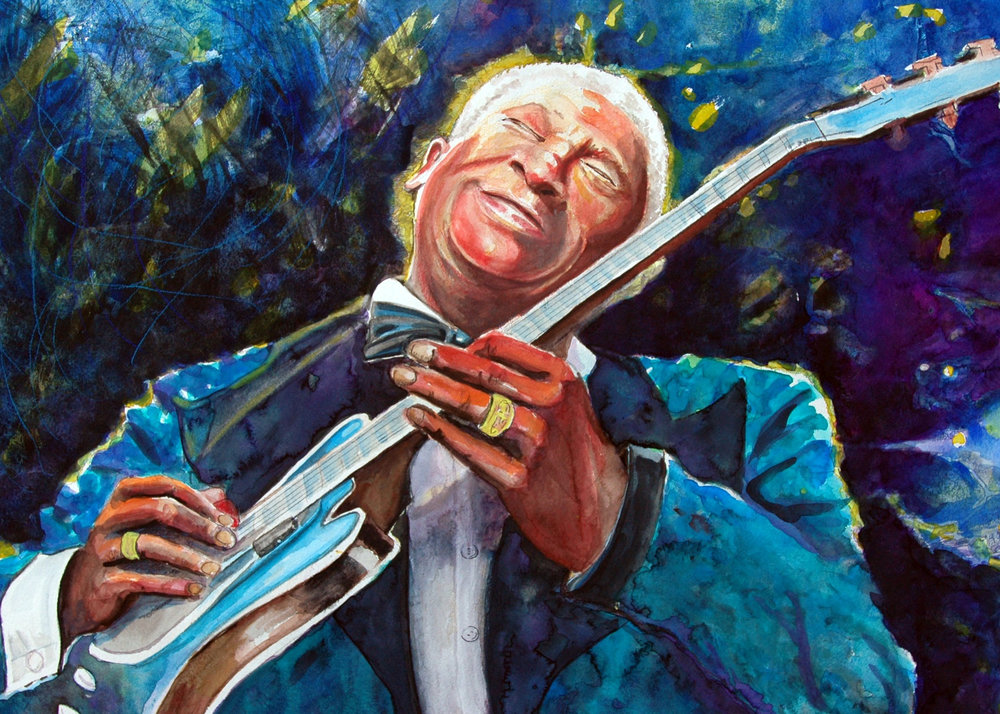 """B B King of the Blues"" - Watercolor"