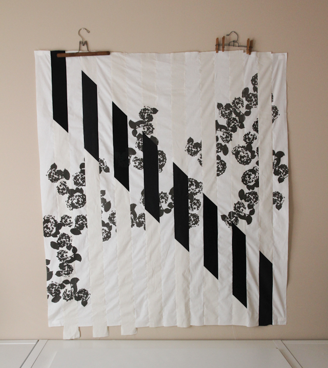 black and white experimental screen-printed quilt in modern black and white | Lovely and Enough
