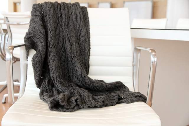 classic dark grey knitted hourglass throw | by Lovely and Enough