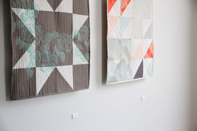 modern and fresh screen-printed quilt in grey, mint, and coral | by Lovely and Enough