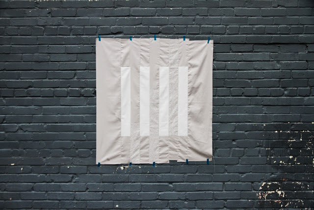 minimalist modern wall quilt in grey and white | Lovely and Enough