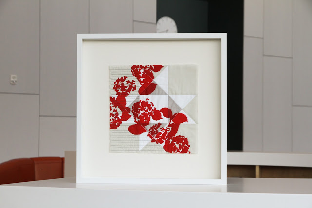 framed modern red printed quilt, crisp and gorgeous | by Lovely and Enough