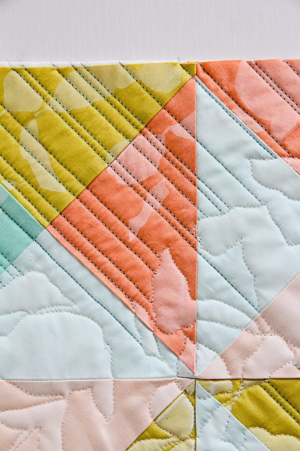 printed and quilted summery LentenTwelve modern quilt close-up | LovelyandEnough
