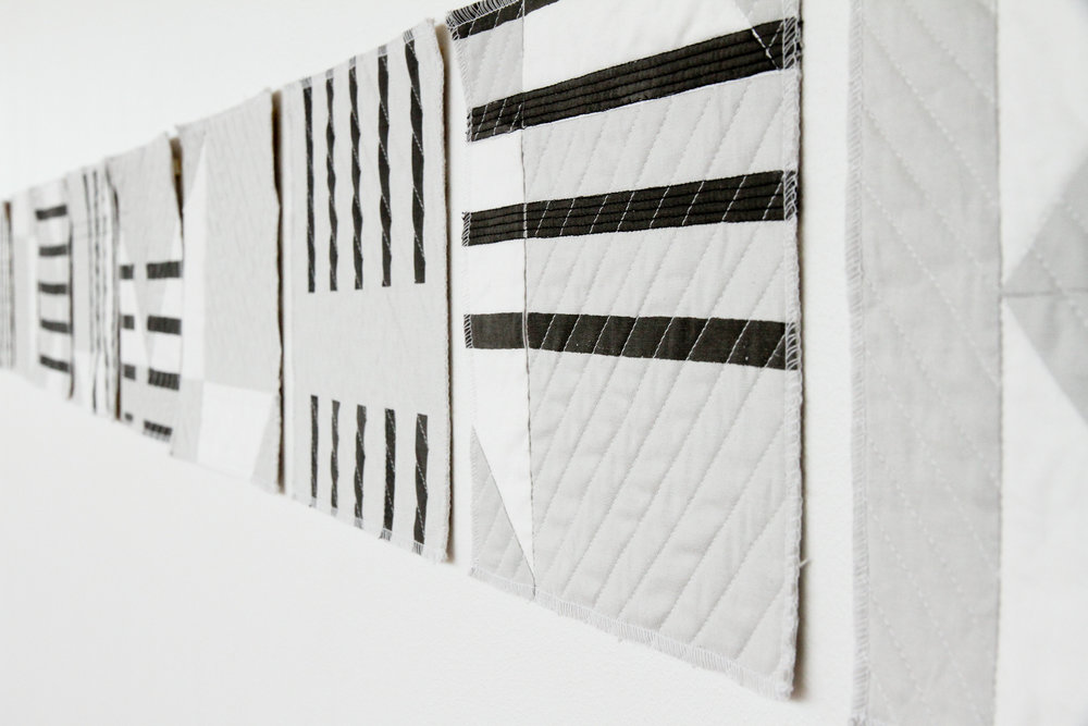 black and white modern deconstructed quilt rearranged