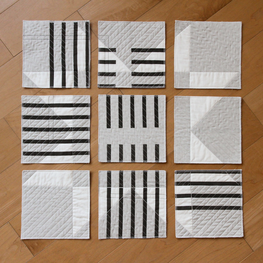 Deconstructed printed quilt in black, white, and grey || designed, pieced, printed, and quilted by Kelsey Williams of Lovely and Enough
