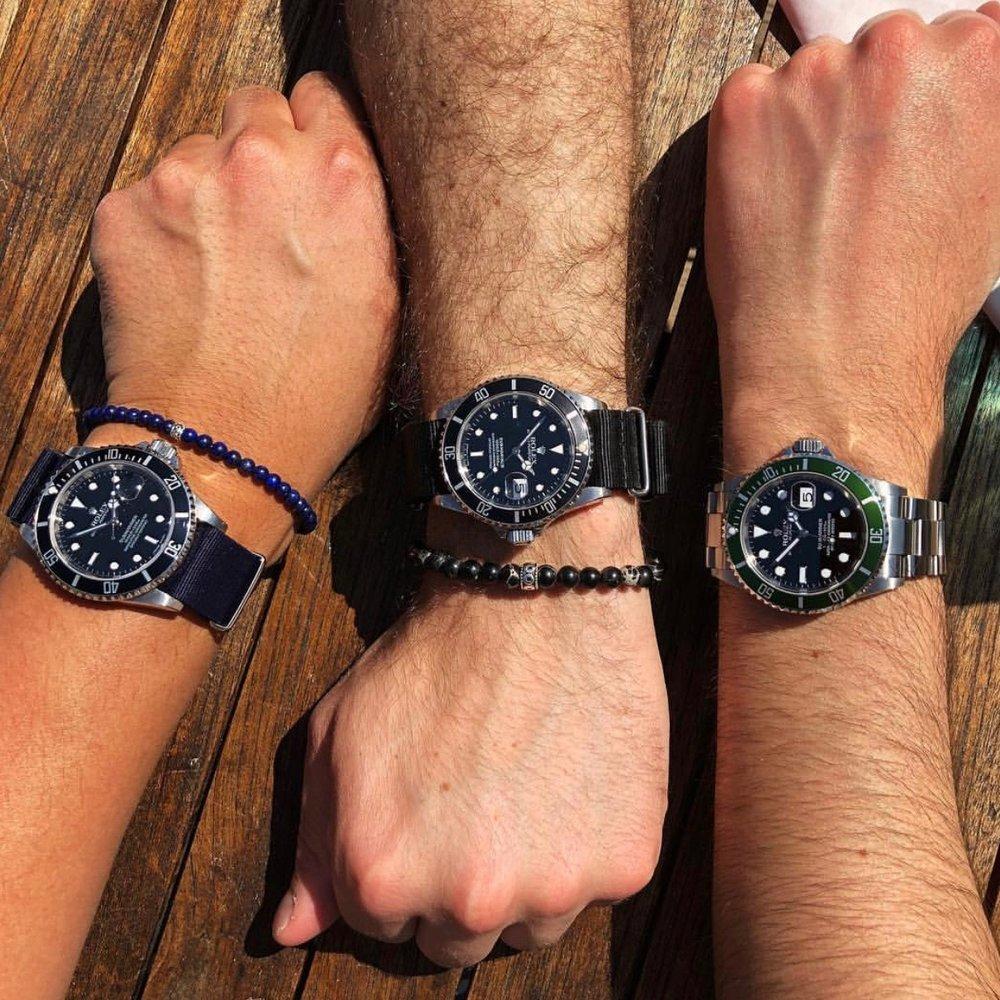 Rolex Submariners x Baxter&Baxter  Deep Blue 4mm  &  Black Sea 6mm Bracelets .