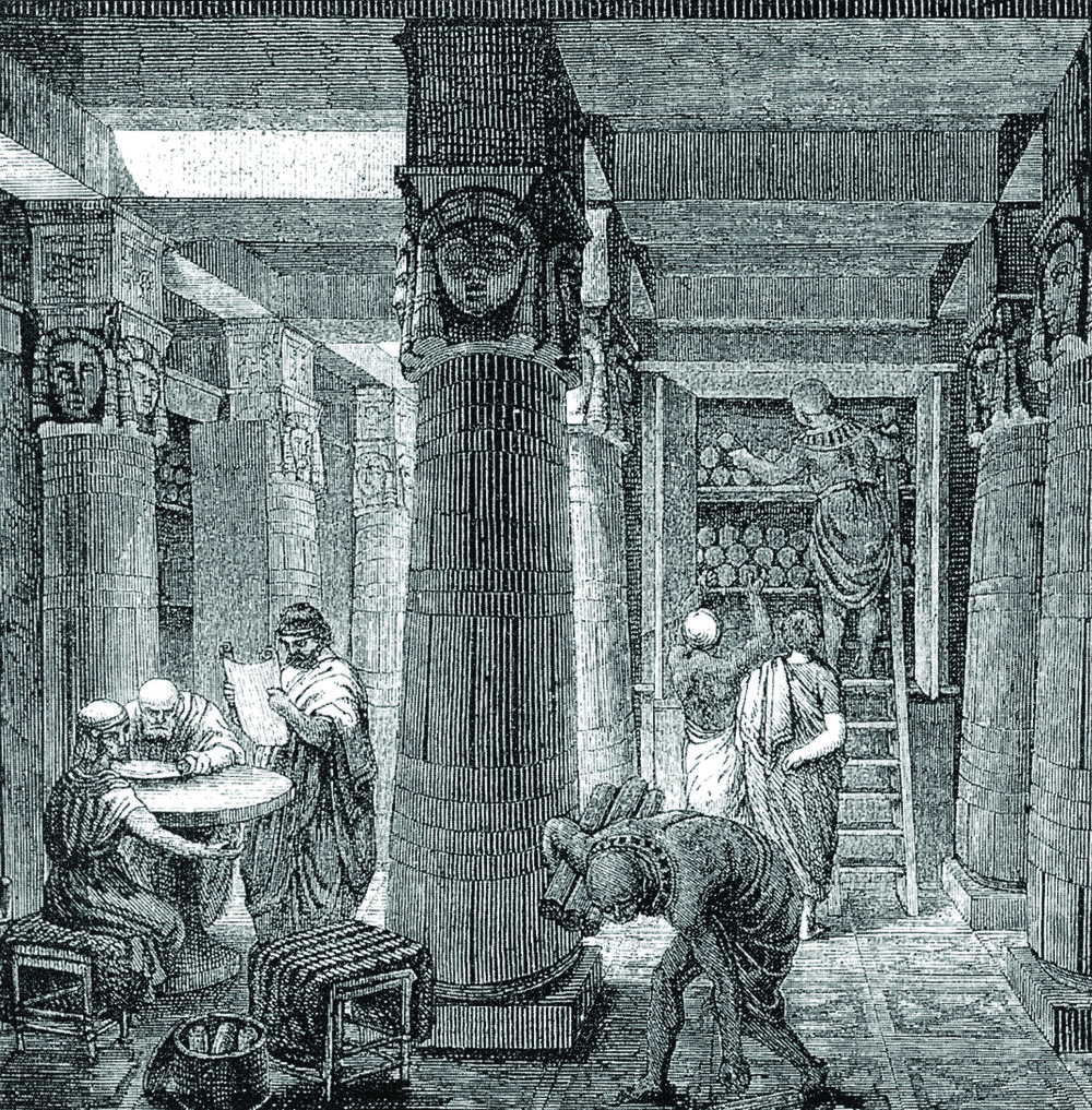 Research for World Building, Figure 1: The Great Library of Alexandria, O. Von Corven, 19th century. [1]