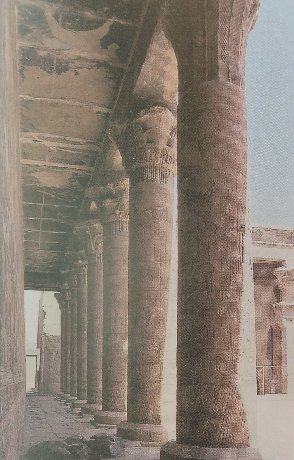 Research for World Building, Figure 3: Colonnade in the Horus temple at Edfu [5]