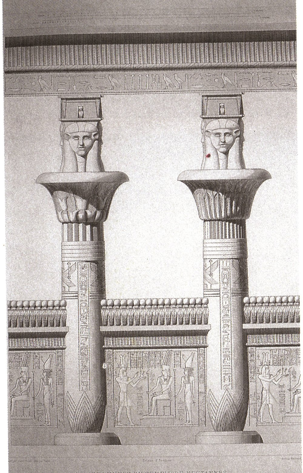 Research for World Building, Figure 4: Reconstruction of a column pair of the kiosk of Nectanebo 1 on Philae [6]