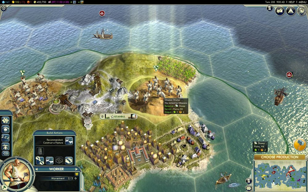 """Workers developing a city in  Civilization V."
