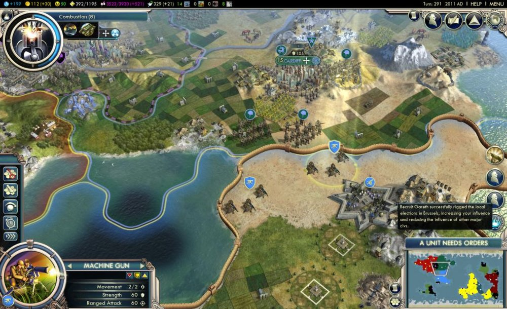 Three civilizations meet in  Civilization V.