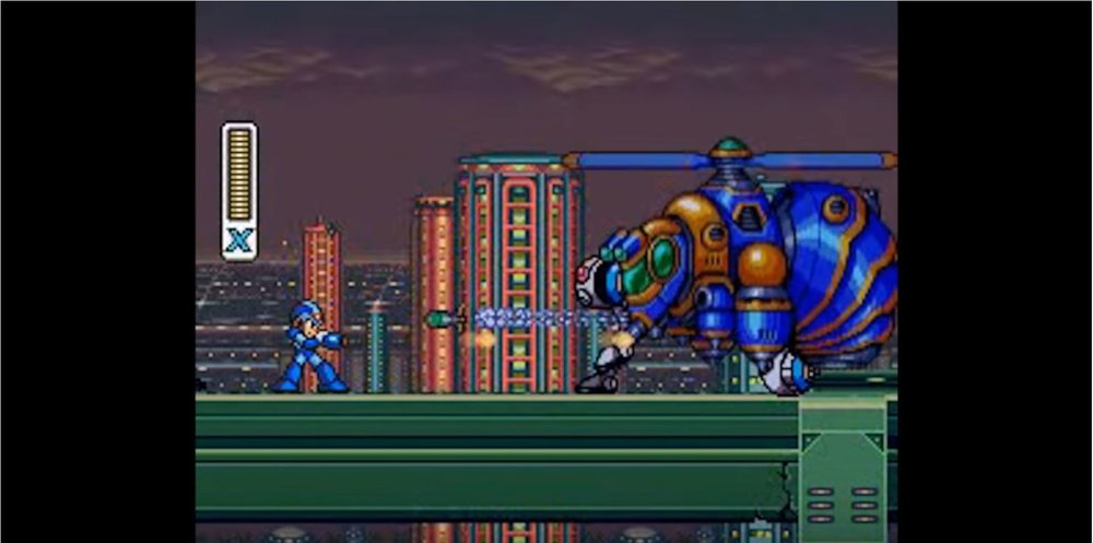 Trials... - As MegaMan combats mini bosses , the game designers have used a smaller, focused interaction with multiple game bosses in order to help the player realize and utilize the different mechanics available to them. A key feature of this instance is that the game designers are able to convey the solution to the interaction without the use of text or explicit means of communication.  The pacing of the monsters's movements allow the player the opportunity to experiment and find the solutions themselves within a limited palette of available actions.Zero's interaction with Mega Man breaks from this dominant design model by communicating through text instead of action. Egoraptor argues that this dialogue breaks the mode of conveyance, but is warranted because Zero is used to express the theme of the game. This is close, but makes an exception for this scene in a way that may be unnecessary. I would argue that the reason Zero's introduction is not disjunctive to the rest of the game's experience is in fact because it solidifies a theme conveyed, but not explicitly stated, in the very first interactions the player has with Mega Man X.