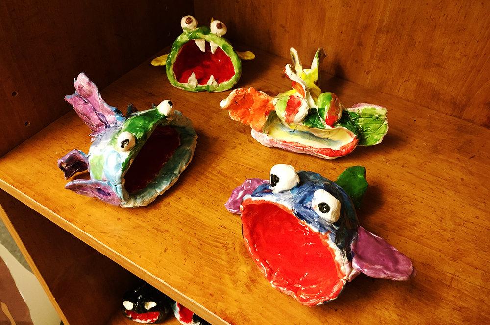 Ceramic fish monsters