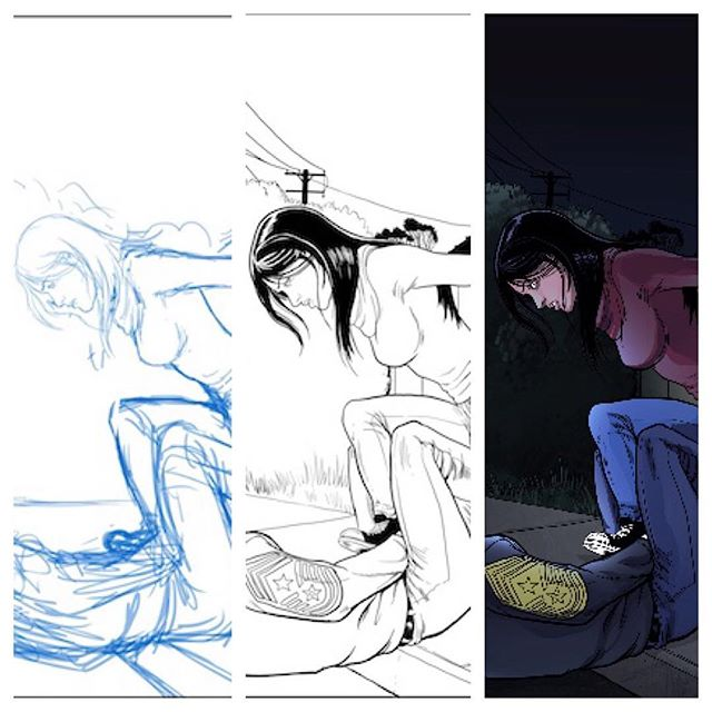Inside look at the process of making a comic, pencils to inks to colors. Annie is looking badass here stomping on jerks and taking names. #comics #indiecomic #indiecomicslove #indiecomics #badasswomen #myfootmychoice #indiecomicslove #indiecomicbooks #comicbooks #comicbook #scificomics
