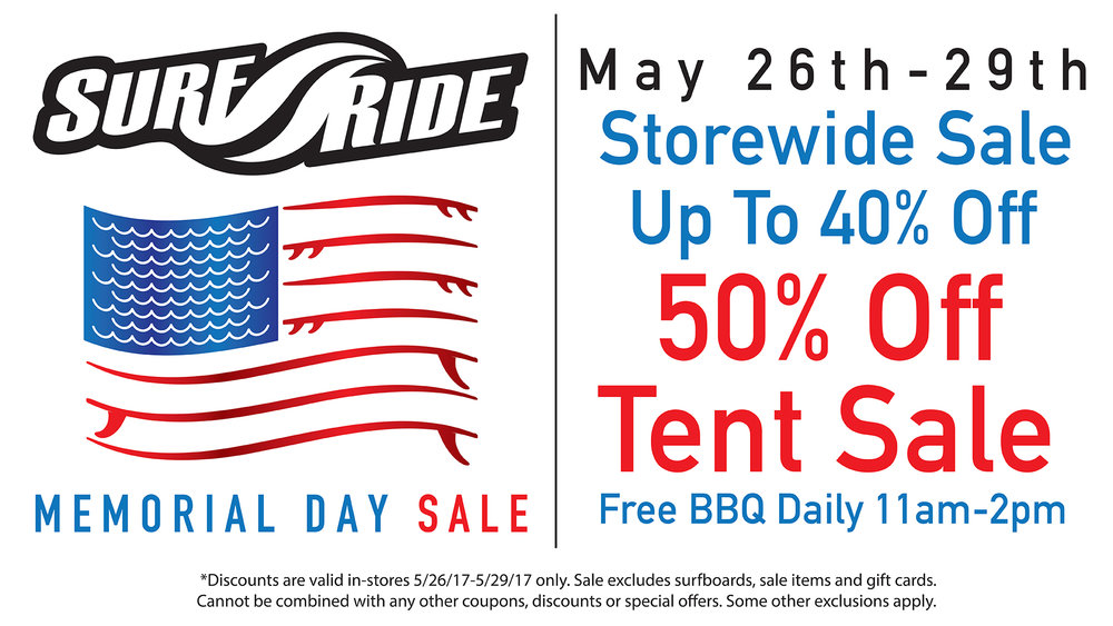 Surf Ride Memorial Day Sale 2017 | Oceanside, Solana Beach, California