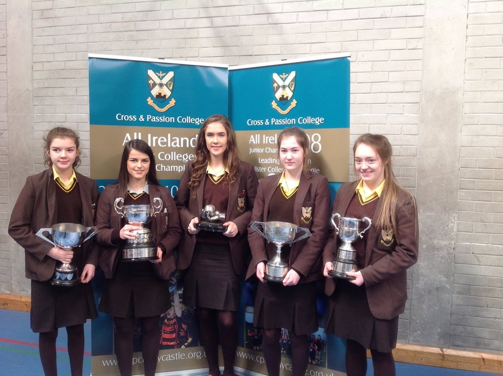 Caoimhe pictured with other team captains after CPC's 'Clean Sweep' of Ulster Titles.