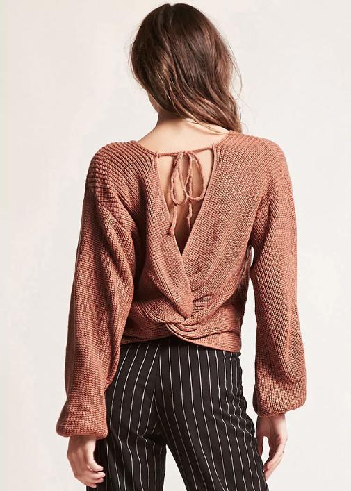 Ribbed Twist Hem Sweater