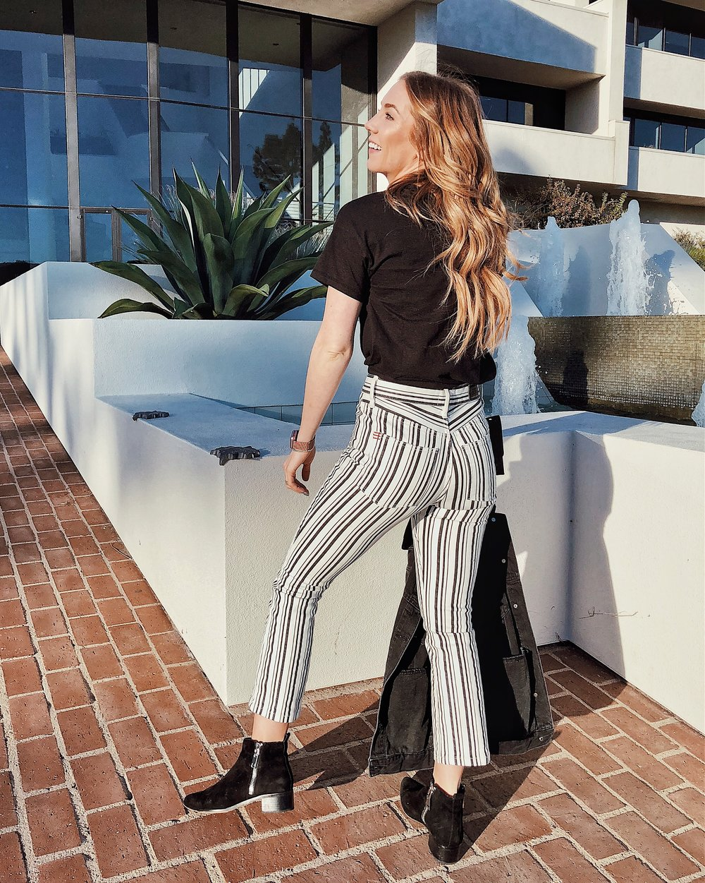 BDG High Rise Striped Crop Flare Back View