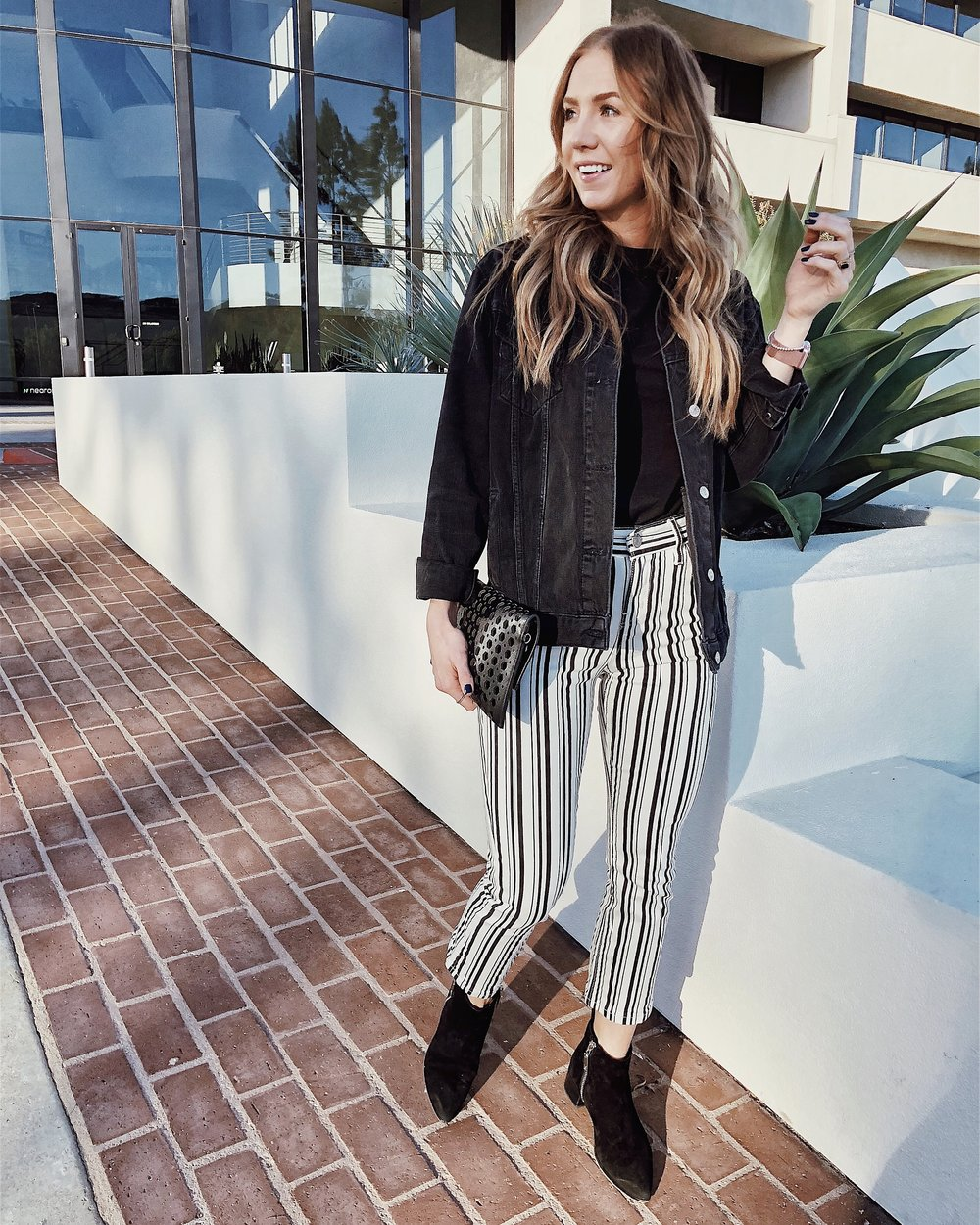 BDG High Rise Striped Crop Jeans Front