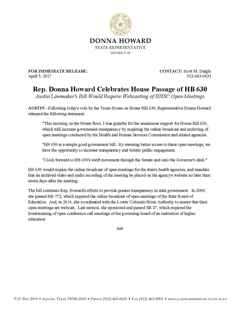 Rep. Donna Howard_Statement on HB 630 House Passage_04.05.2017